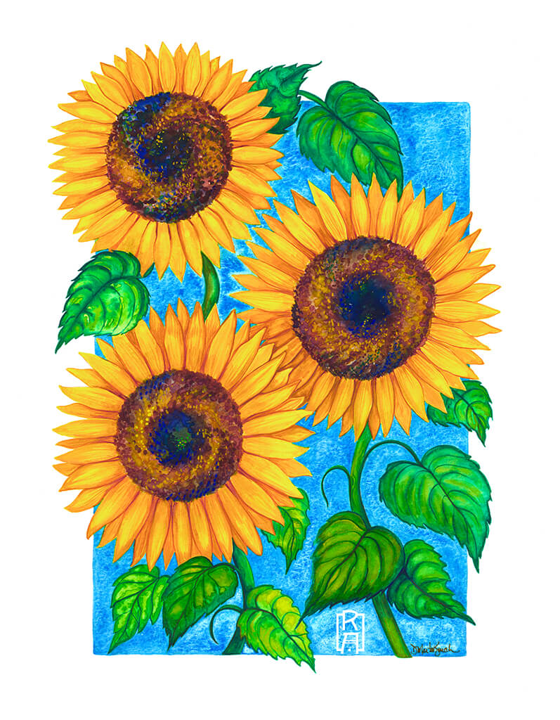 Sunflowers | Mixed Media Painting by Denise Marta-Burch