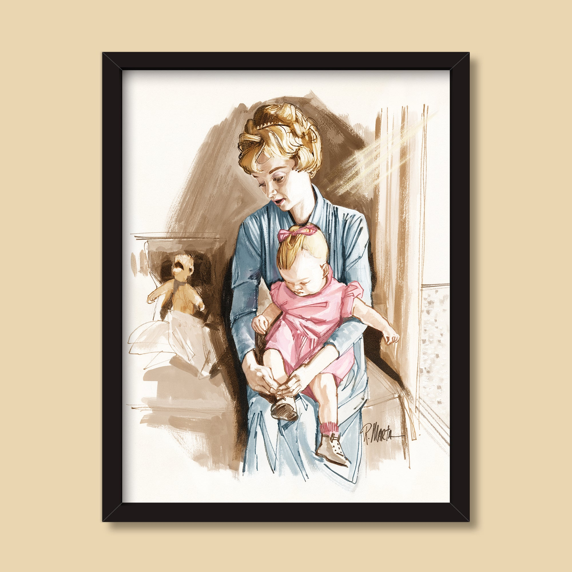 The Nursery | Vintage illustration by Ray Marta