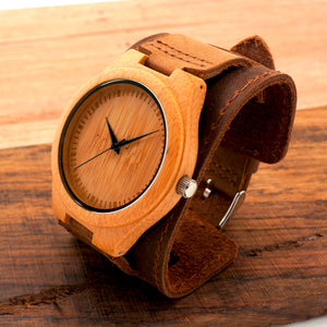 Bamboo Watch Wristwatch With Wider Genuine Cowhide Band for Men and Women