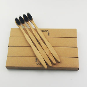 12 Pieces Black 100% Bamboo Toothbrush
