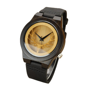 Black Hollow Deer Mens Leather watch Bamboo Wooden