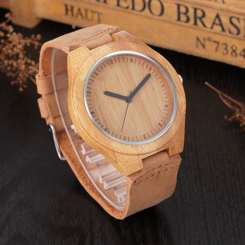 Genuine Leather Bamboo Wooden Watches Japanese Miyota For Men/ Women