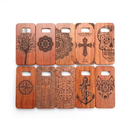 Bamboo Case for Samsung s8 Natural Carving