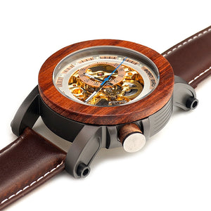 Luxuriou's Mechanical Watches  with Genuine Leather Strap and Wood Bamboo Watch