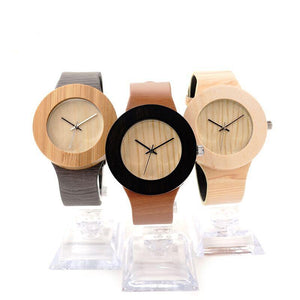 Retro Dark Oak Design Watch In Special Leather Band