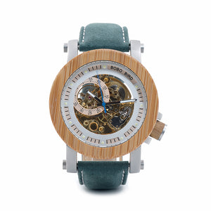 Luxuriou's Mechanical Bamboo  Watch Watches with Genuine Leather Strap and Wood