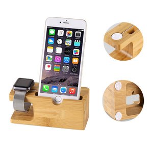 Wood Phone Charging Stand for iPhone in Natural Bamboo