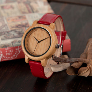 Classic Disigned Bamboo Watches In 3 Color Pu Leather Band