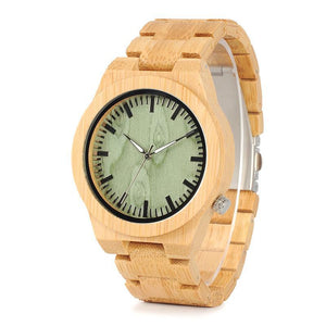Bamboo Wood Wristwatch in Emerald Green Dial