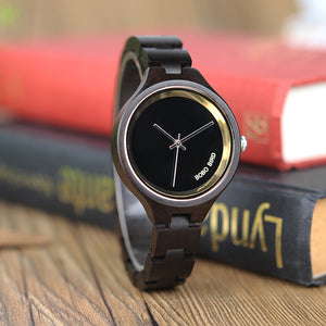 Women Wooden Watches In Classic Black Dial