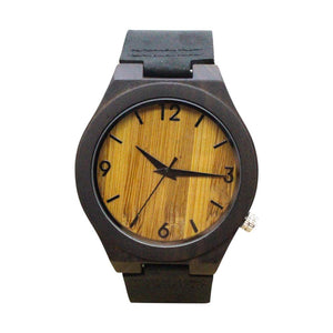Luxury Round Vintage Wood Case Men Watch With Bamboo Wood