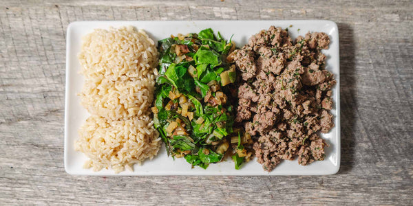 Cooked rice, Farmstyle swiss chard, ground beef
