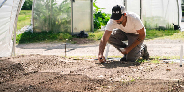 Judah (field manager) crouches planting a variety label in a recently planted bed