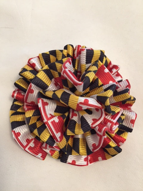 Ruffled flower pin - Maryland Flag Fabric