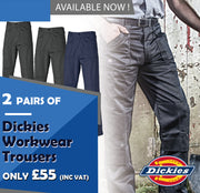 2 Pairs of Dickie Redhawk Workwear Trousers