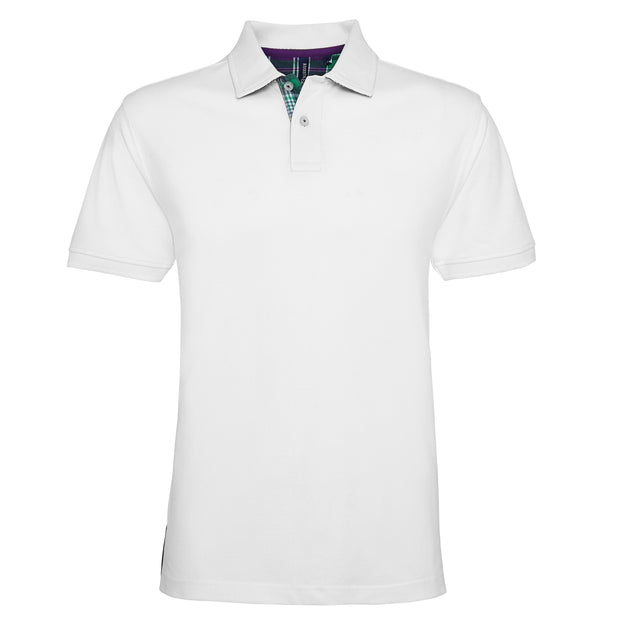 Men's check trim polo