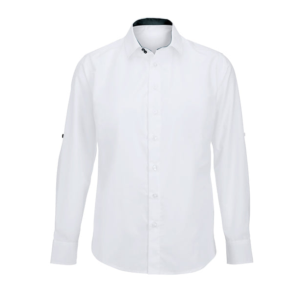 Men's white roll-up sleeve shirt (NM521W)