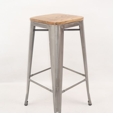 replica metal tolix Kitchen stool wood seat galvanised mad chair company