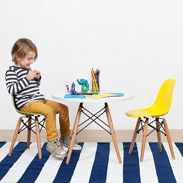 replica del eames eiffel kids wood legs white seat mad chair company
