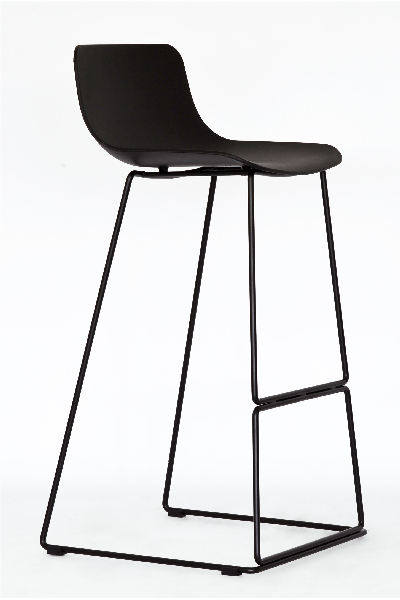 sleigh metal  bar stool black plastic mad chair company
