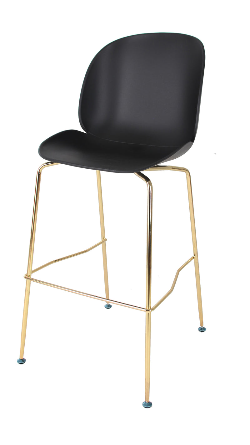 Replica Beetle Barstool - black seat 76cm Gold Leg Mad chair company