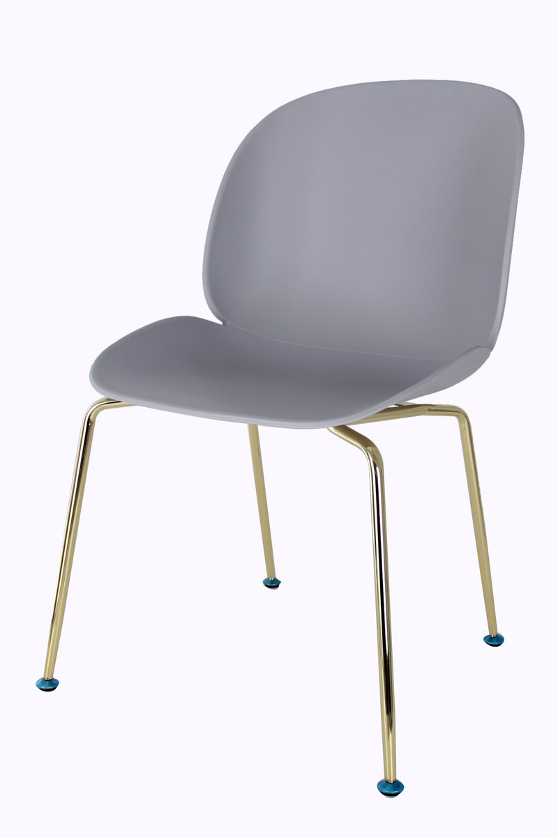 Replica Beetle Chair - Light Grey seat Gold Leg Mad Chair Company