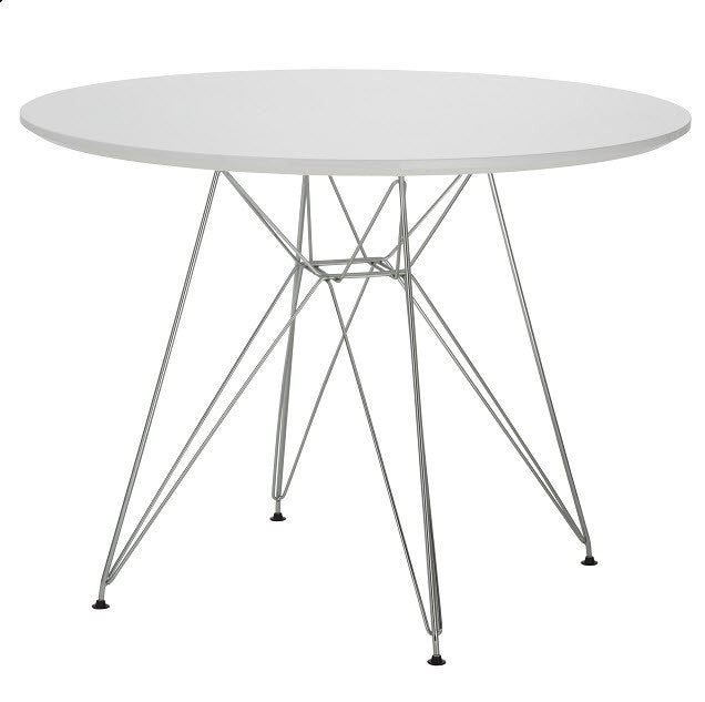 replica eames table white wood top chrome legs mad chair company