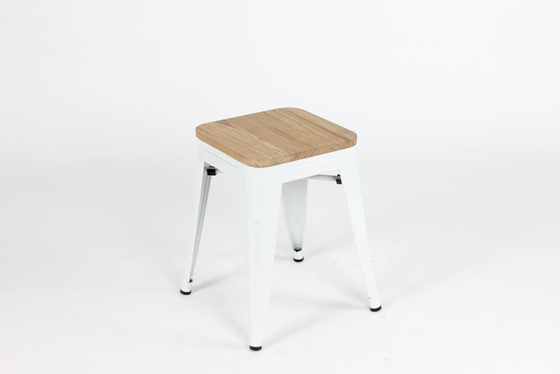 Replica Tolix Low Stool with Wood Seat White gloss Mad Chair Company