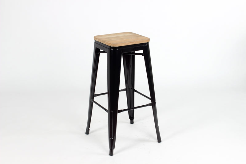 replica metal tolix bar stool wood seat black mad chair company