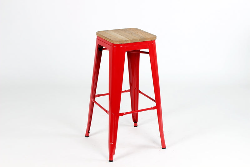 replica metal tolix bar stool wood seat red mad chair company