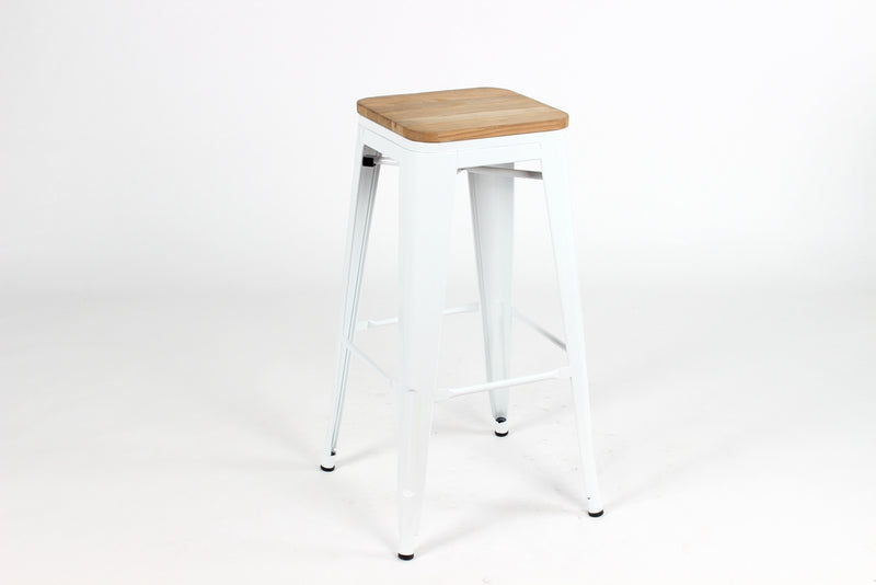 replica metal tolix Kitchen stool wood seat white mad chair company