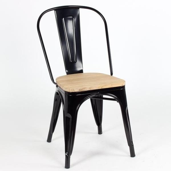 replica tolix metal side chair wood seat black mad chair company