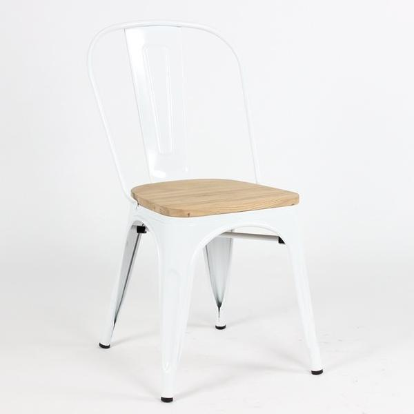 replica tolix metal side chair wood seat white mad chair company