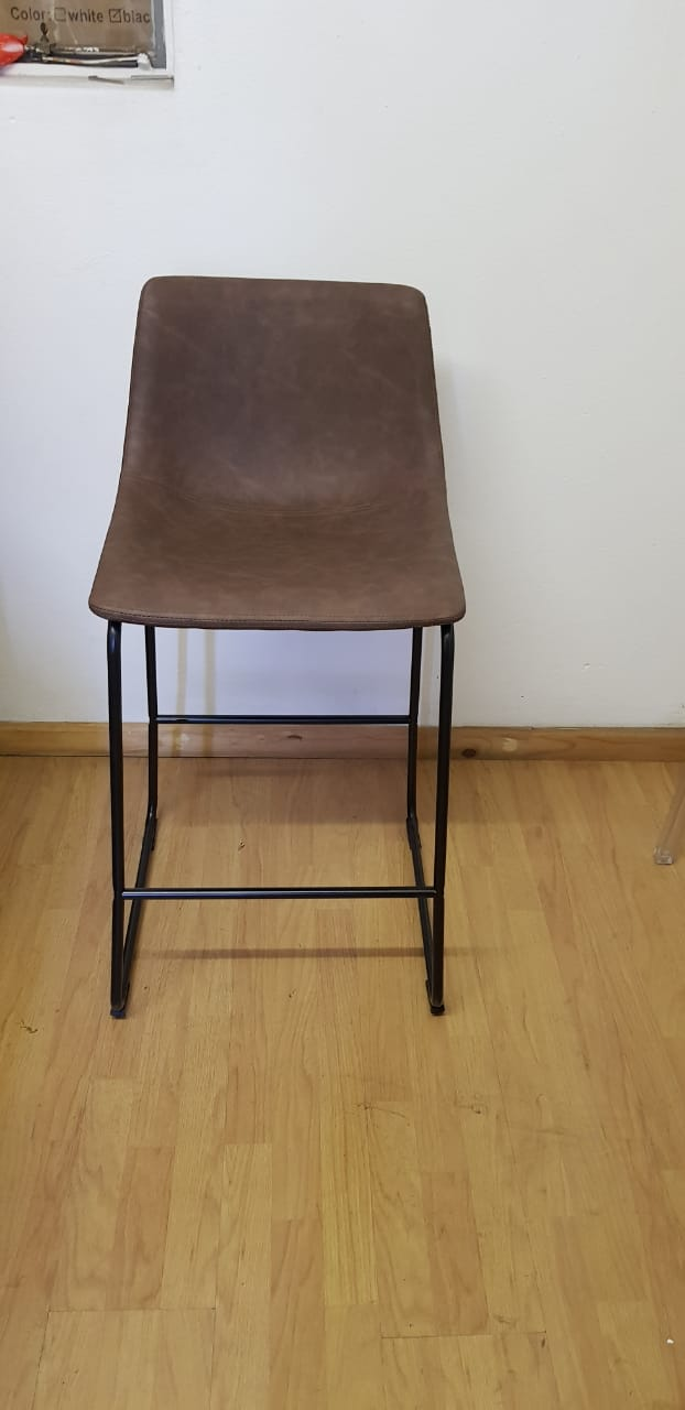 Vintage Sleigh Kitchen Stool 66cm Brown Mad chair Company