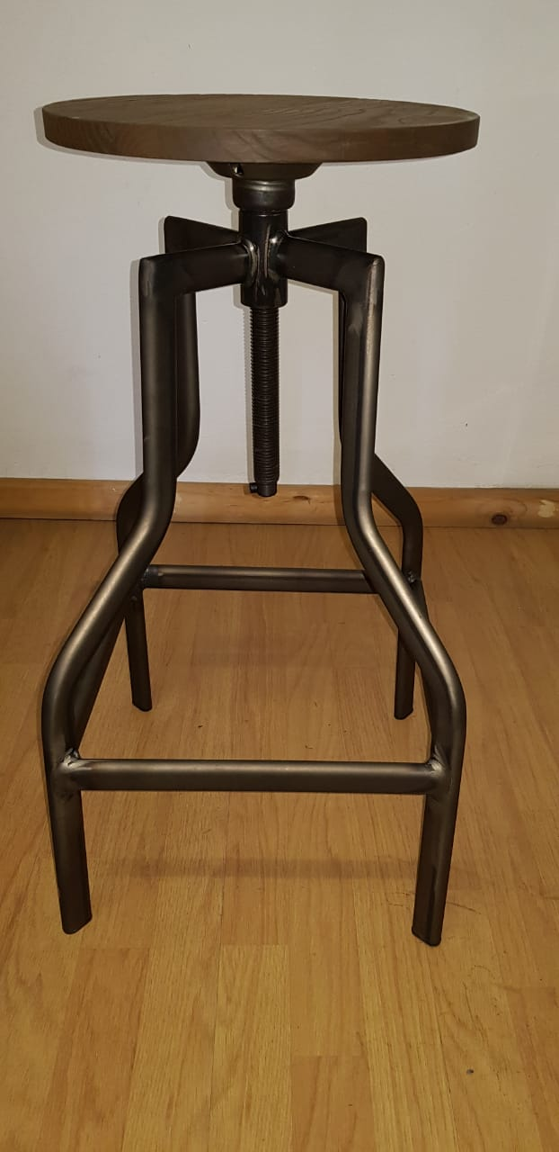 replica detroit adjustable metal stool wood seat rustic mad chair company