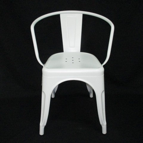 replica metal tolix arm chair white mad chair company