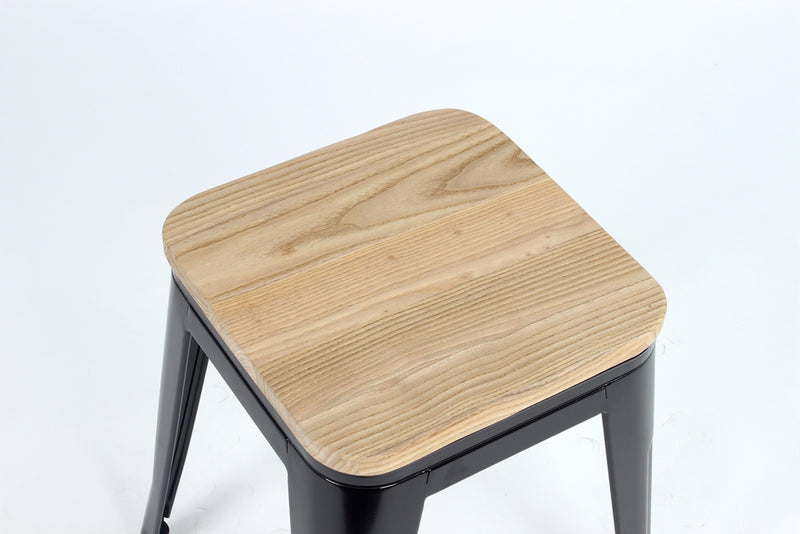 Replica Tolix Low Stool with Wood Seat Black gloss Mad Chair Company