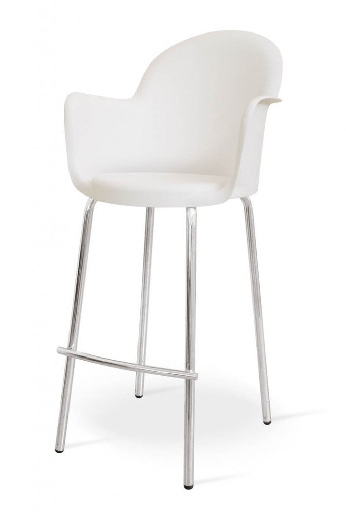moon bar stool white metal/plastic mad chair company