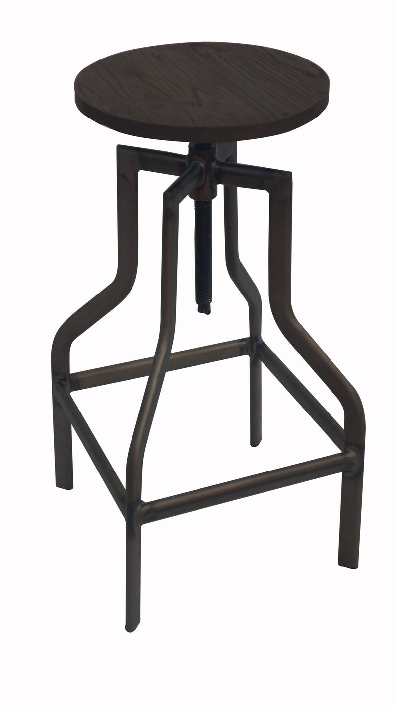 replica detroit adjustable metal stool wood seat galvanised mad chair company
