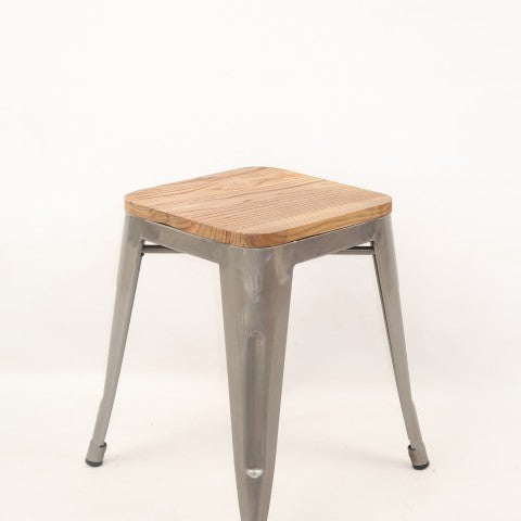 Replica Tolix Low Stool with Wood Seat Galvanised Mad Chair Company