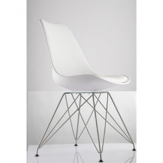 Replica Eames Padded Eiffel - Steel Leg White Mad Chair Company