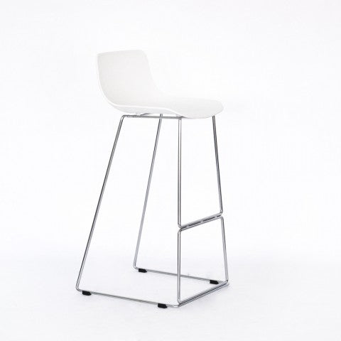 sleigh chrome bar stool white plastic mad chair company
