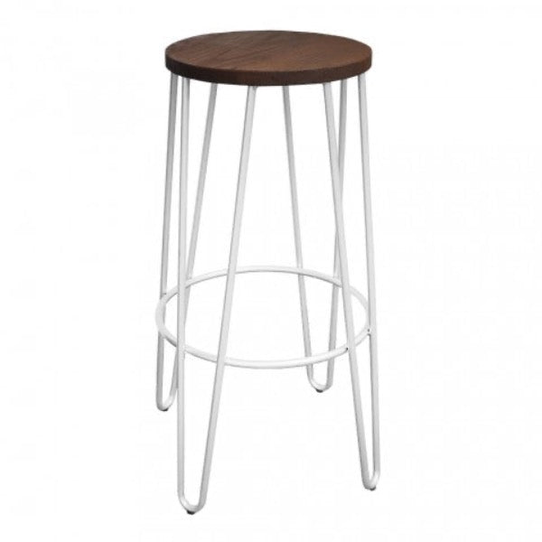 replica hairpin metal  bar stool wood seat white mad chair company