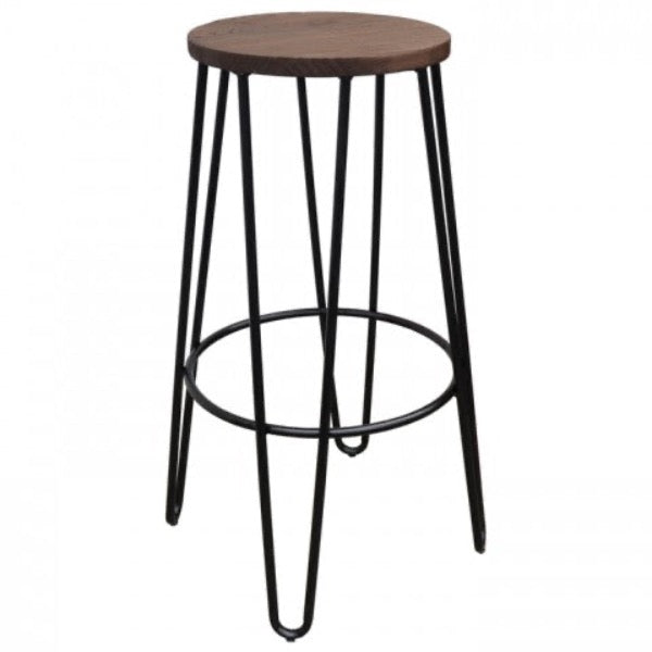 replica hairpin metal bar stool wood seat black mad chair company