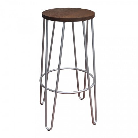 replica hairpin metal  bar stool wood seat galvanised mad chair company