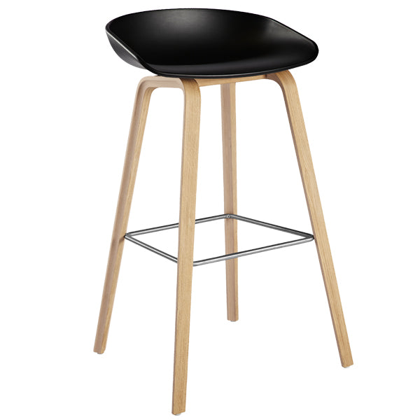 replica hay kitchen stool wood leg foot rest black plastic seat 66cm mad chair company
