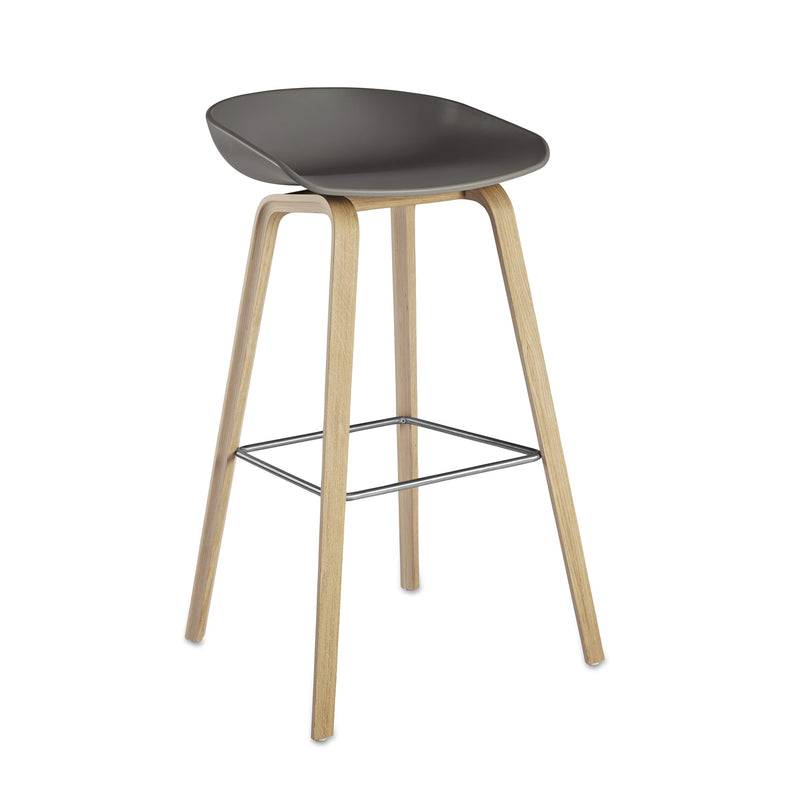 replica hay kitchen stool wood leg foot rest grey plastic seat 66cm mad chair company