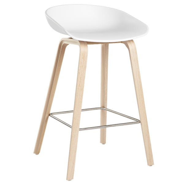 replica hay bar stool wood leg metal foot rest white plastic seat 76cm mad chair company