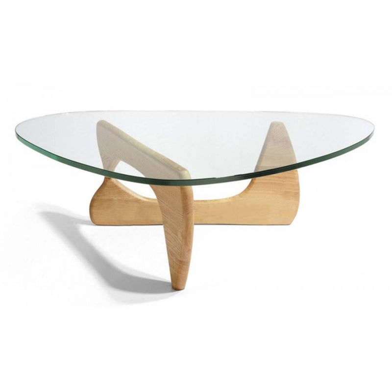 Replica Noguchi Coffee Table Natural wood glass top Mad chair company solid ash leg tempered glass top