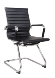 Replica Eames Visitor Chair - Leather Sleigh Base Mad Chair Company